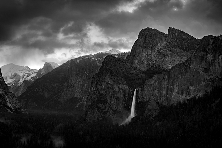 Yosemite, California, Ca, Sierra, valley, Yosemite national park,  el capitan, trees, sunset, Bridalveil falls, water, clouds, winter, black white, photo