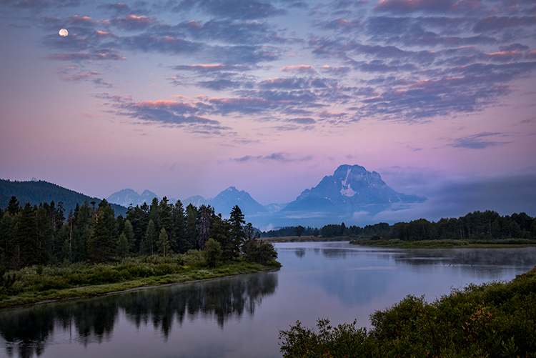 grand teton national park, tetons, snake river, snake, river, mountains, trees, water, color, aspens, sunset, moon, clouds, flora, moon, moonrise, photo
