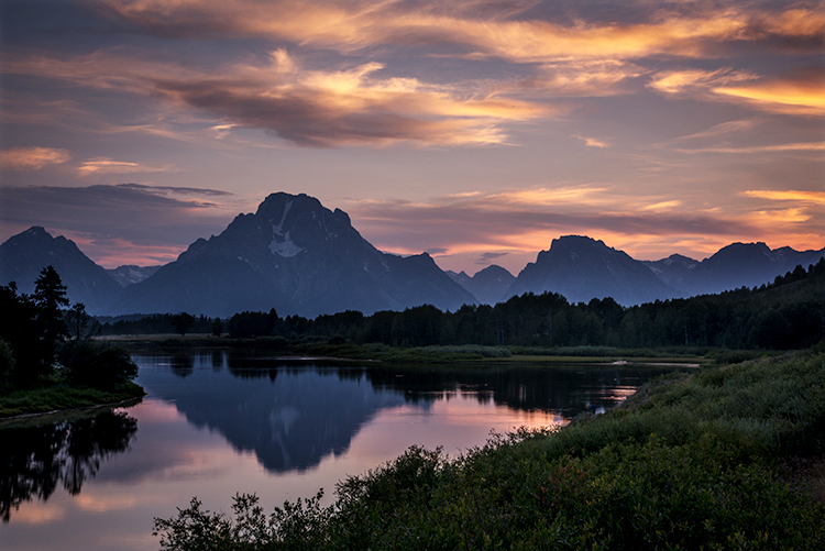 grand teton national park, tetons, snake river, snake, river, mountains, trees, water, color, aspens, sunset, moon, clouds, , photo