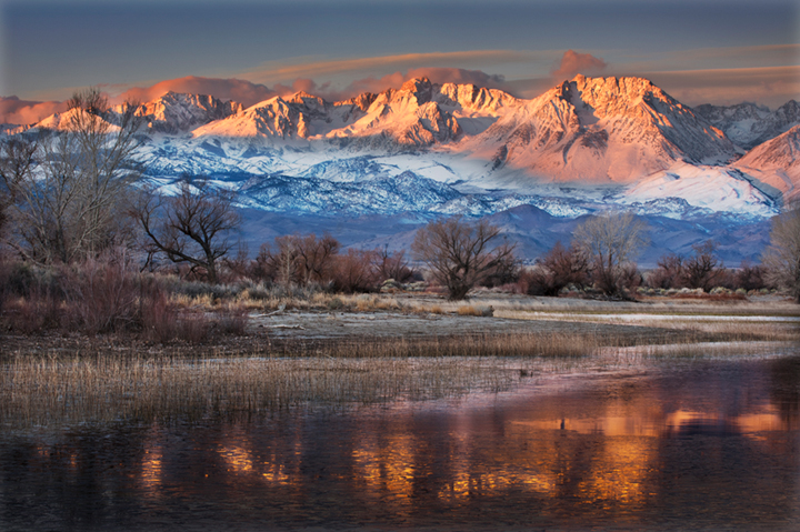 farmers pond, sierra, eastern, bishop, water, sunset, reflection, mt tom, grasses, mountains, photo