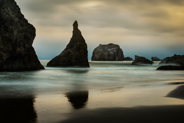 bandon, beach, or, oregon, coast, waves, coastal,  hwy 101, highway 101, rocks, boulders, surf, twilight, sunset, sea, stacks, photo