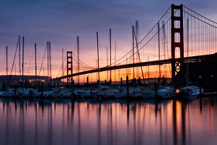 golden gate, fort, cronkite, fog, sunrise, san francisco, marin, trees, headlands, bridge, ca, california, water, ocean, pacific, photo
