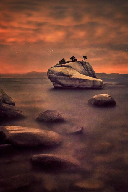 eastern sierra, sierra, clouds, sunrise,  spring, ca, california, lake tahoe, north shore, boulders, rocks, bonsai rock, water, stars, twilight, stars, photo