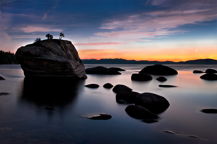 eastern sierra, sierra, clouds, sunset,  spring, ca, california, lake tahoe, north shore, boulders, mountains, rocks, bonsai rock, water, stars, moon, moonrise, photo