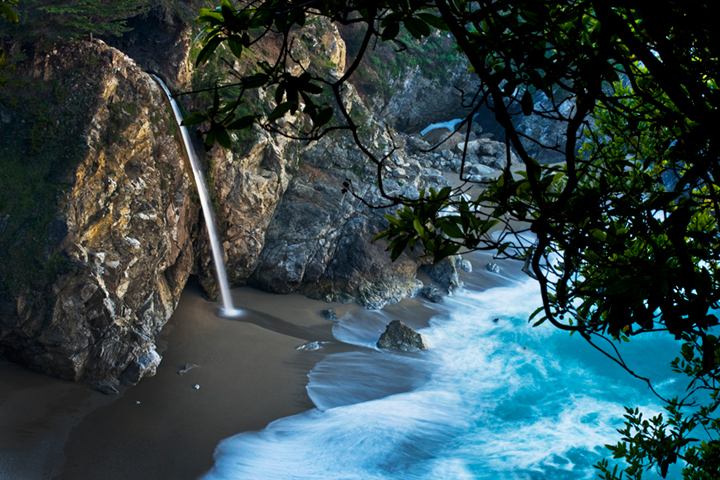 coast, coastal, water, pacific, big sur, sur, big, sunset, twilight, mcway falls, waterfalls, surf, waves, highway 1, hwy 1,  julia, pfeiffer, burns, ca, california, photo