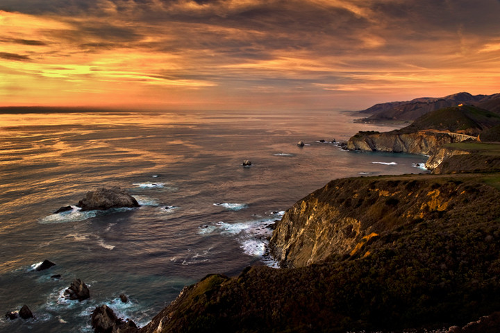 coast, coastal, water, pacific, big sur, sur, big, highway 1, hwy 1, ca, california,  sunset, twilight, ocean,  garrapata,  soberanes, beach, surf, waves, sea stacks, bixby bridge, photo