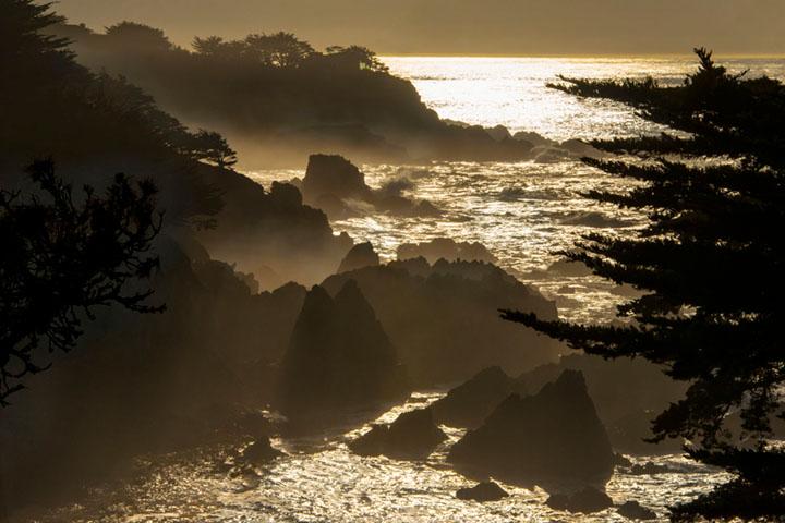 Carmel Highlands, coast, coastal, water, pacific, big sur, sur, big, highway 1, hwy 1, ca, california,  sunrise, ocean, surf, waves, sea stacks, rocks, photo