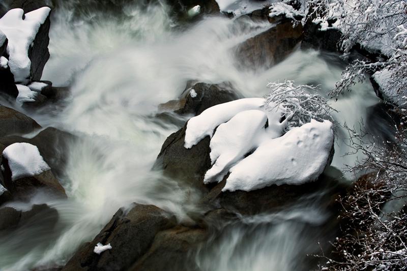 yosemite, water, cascade creek, winter, mountains, sierra, snow, waterfalls, ca, california, photo