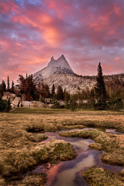 cathedral peak, cathedral, clouds, sunset, water, sierra, mountains, ca, california, yosemite, photo