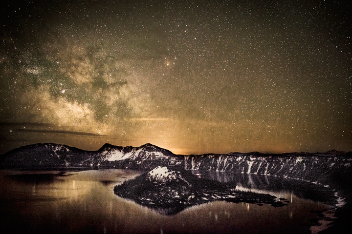 wizard island, crater lake, stars, milky way, or, oregon, water, pacific northwest, photo
