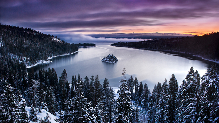 emerald bay, lake tahoe, water, pines, ca, california, forest, sierra, eastern, trees, sunrise, dawn, mountains, photo