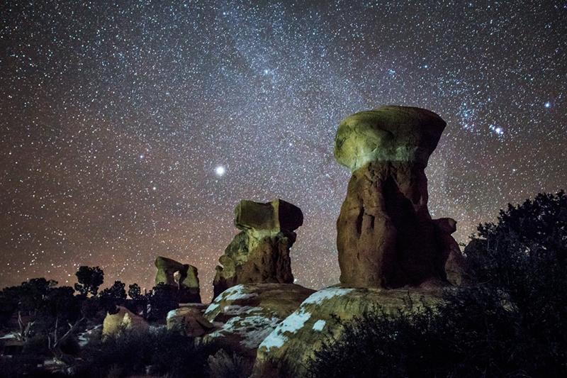 hoodoos, milky way, stars, night, devils garden, escalante, southwest, ut, utah, desert, photo