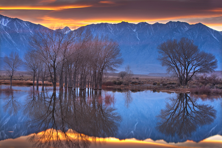 farmers pond, sierra, eastern, bishop, water, sunset, reflection, mt tom, photo