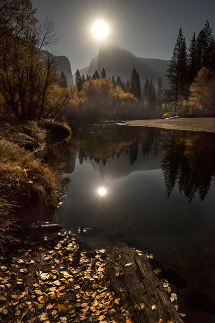 merced river, merced, river, yosemite, ca, california, twilight, sunset, reflections, stars, moon, moonrise, sierra, mountains, trees, water, fall, colors, half dome, half, dome, yosemite, landscape, photo