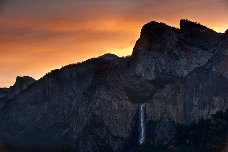 tunnel, view, sunrise, half, dome, yosemite, valley, trees, sierra, mountains, ca, california, clouds, photo