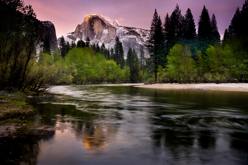 <p>merced river, merced, river, yosemite, ca, california, twilight, sunset, reflections, sierra, mountains, trees, water, colors, half dome, half, dome, spring</p>, photo