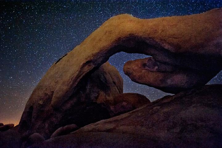 ca, california, sunrise, desert, southwest, milky way, stars, joshua tree, arch, rocks, photo