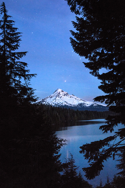 columbia river gorge, mt hood, lost lake, water, stars, twilight, northwest, pacific, or, oregon, photo
