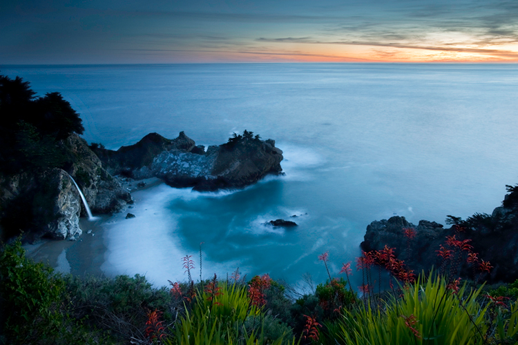 coast, coastal, water, pacific, big sur, sur, big, sunset, twilight, mcway falls, waterfalls, surf, waves, beach, highway 1, hwy 1,  julia, pfeiffer, burns, ca, california, photo