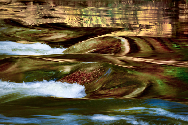 fall, colors yosemite, merced, reflections, water, merced river, movement, impressions, abstract, water, merced river, merced, california, mountains, rivers, sierra, photo