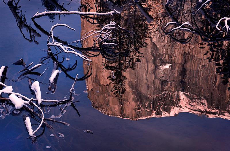 el capitan, meadow, yosemite, winter, valley, trees, reflections, water, merced, river, sierra, mountains, ca, california, snow, landscape, photo