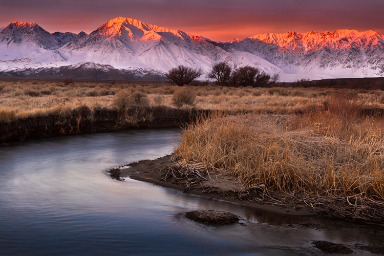 eastern sierra, sierra, owens river, fall, ca, california, trees, storm, winter, sunrise, bishop, mountains, photo