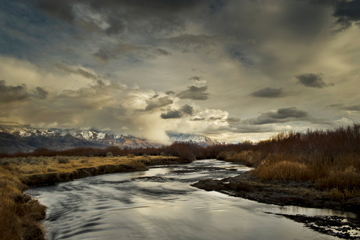 eastern sierra, sierra, fall, fall color, ca, california, trees, sunset, clouds, lenticular, bishop, water, owens, owens river valley, river, spring, mountains, photo
