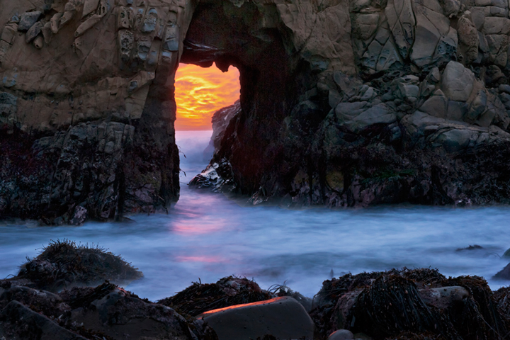 pfeiffer, state, park, coast, coastal, water, pacific, big sur, sur, big, sunset, twilight, surf, waves, beach, highway 1, hwy 1, ca, california, arch, rock, sea stack, , photo