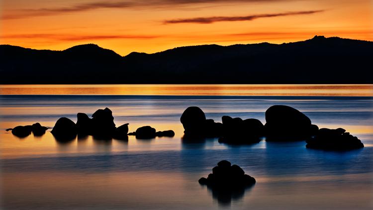 eastern sierra, sierra, clouds, sunset,  spring, ca, california, lake tahoe, north shore, boulders, rocks, bonsai rock, water, stars, moon, moonrise, sand harbor, photo