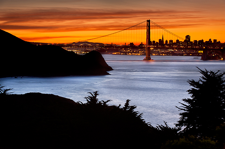 golden gate, fort, cronkite, fog, sunrise, san francisco, marin, trees, headlands, bridge, ca, california, water, ocean, pacific, photo