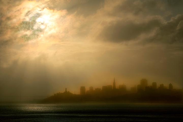 golden gate, fort, cronkite, fog, sunrise, san francisco, marin, trees, headlands, ca, california, photo