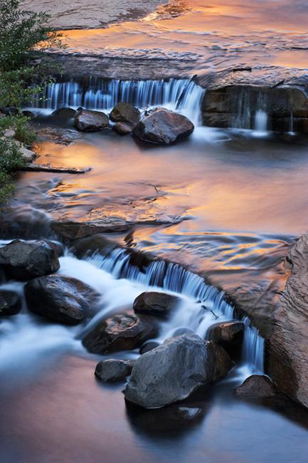 slide rock, oak creek, sunrise, sedona, az, arizona, southwest, water, waterfall, photo