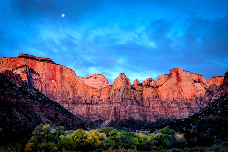 zion, mountains, southwest, desert, ut, utah, moonrise, sunrise, photo