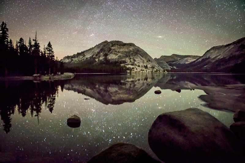 yosemite, tenaya lake, stars, milky way, water, mountains, sierra, ca, night skies, california, high country, reflections, photo