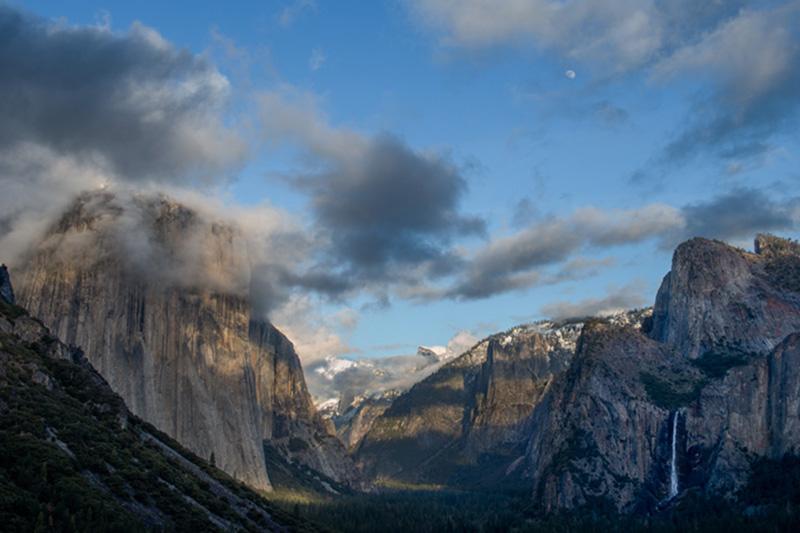 bridalveil falls, waterfalls, water, yosemite, mountains, sierra, fog, trees, ca, california, tunnel view, sunset, moonrise, photo