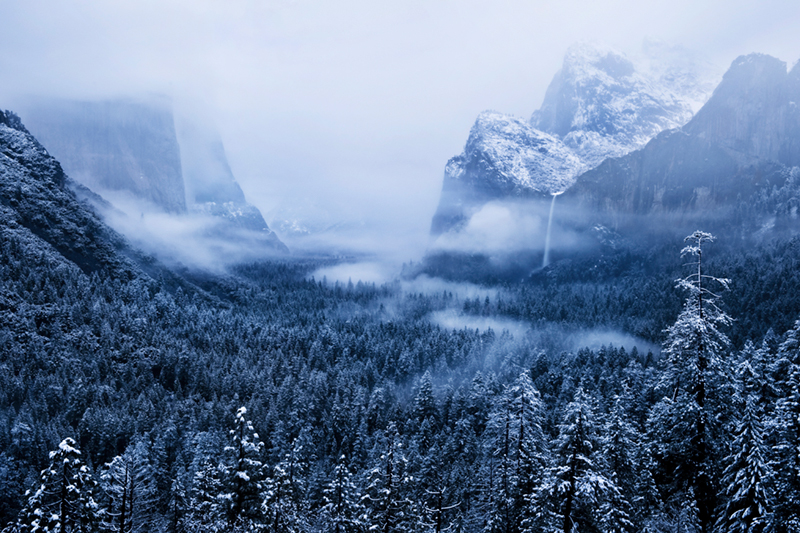 landscape, yosemite, tunnel view, bridalveil falls, winter, clearing storm, mountains, sierra, half dome, water, sunrise, bridalveil falls, ca, california, waterfalls, clouds, fog, atmospherics, , photo