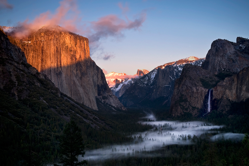 landscape, yosemite, tunnel view, bridalveil falls, winter, clearing storm, mountains, sierra, half dome, water, sunrise, bridalveil falls, ca, california, waterfalls, clouds, fog, atmospherics, photo