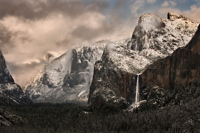landscape, yosemite, tunnel view, bridalveil falls, winter, clearing storm, mountains, sierra, half dome, water, bridalveil falls, ca, california, waterfalls, cathedral rocks, half dome, sentinel dome, photo