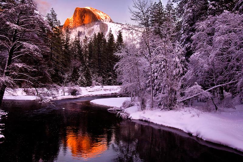merced river, merced, river, yosemite, ca, california, winter, reflections, snow, half, dome, sunset, half dome, sierra, mountains, trees, landscape, photo