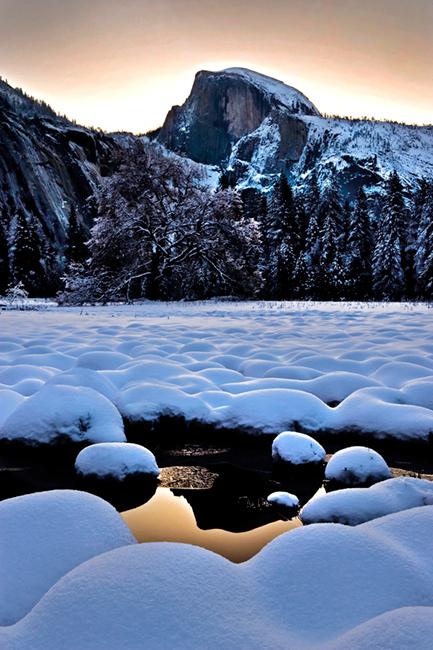 landscape, cooks, meadow, yosemite, ca, california, winter, reflections, snow, half, dome, sunrise, half dome, sierra, mountains, photo