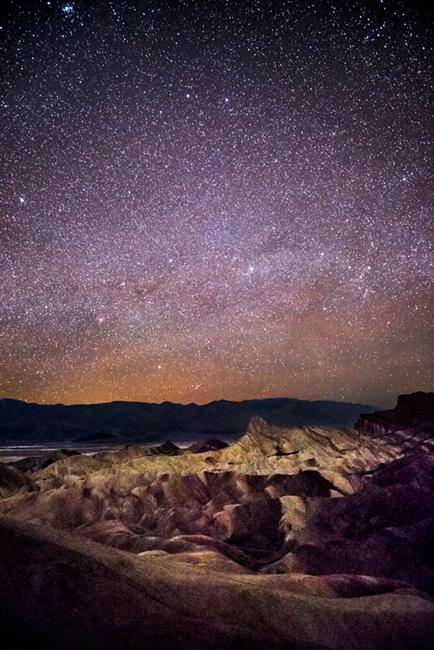 zabriskie, point, death, valley, ca, california, sunrise, desert, southwest, milky, way, stars, photo