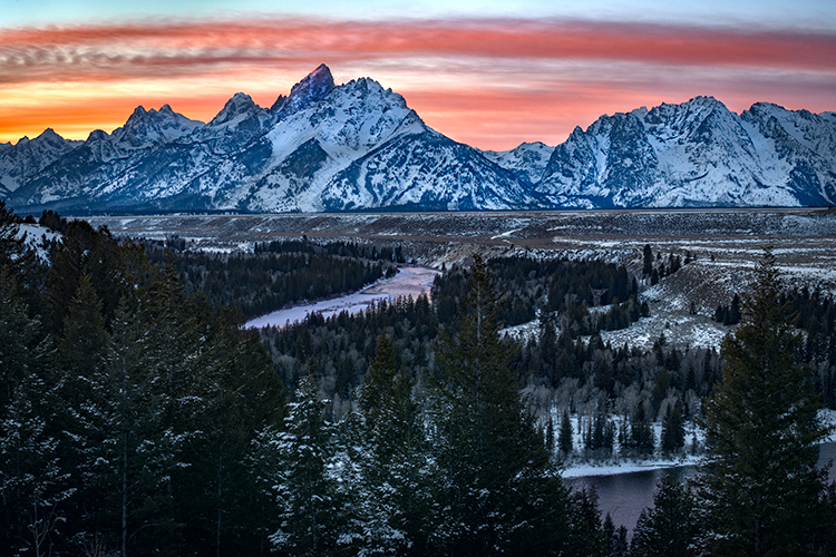 snake river, snake, river, mountains, landscape, tetons, grand tetons, sunset, clouds, storm, jackson, trees, national park, water, winter, photo
