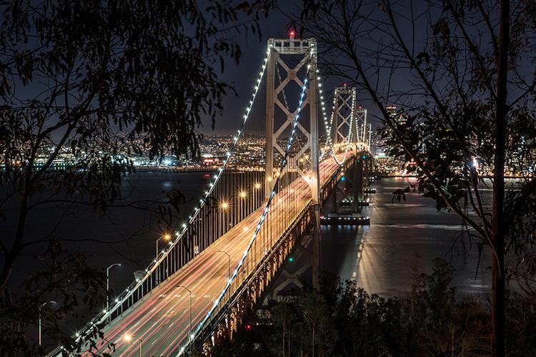San francisco, Bay bridge, night, san francisco bay, photo