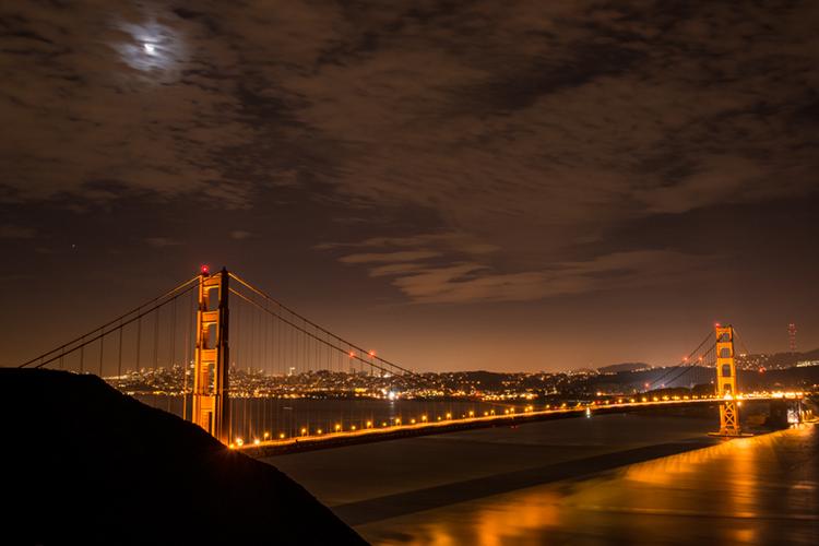 San Francisco Bay, San Francisco, California, CA, water, Mt Tamalpais, sunrise, clouds, bay area, dawn, moon, moonrise, golden gate, golden gate bridge, photo