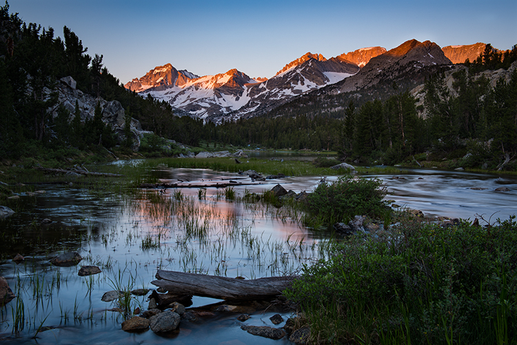little lakes valley, bear spire, rock creek, sierra, eastern, mountains, reflections, sunrise, sunset, water, grasses, ca, california,, photo