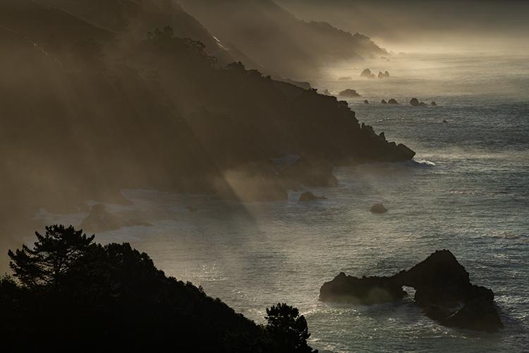 big sur, ca, california, pacific, ocean, water, beach, sunrise, sunset, surf, rocks, rock, coast, fog, sea stacks, photo