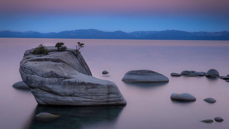 sierra, mountains, bonsai rock, lake tahoe, tahoe, landscape, water, sunrise,, photo
