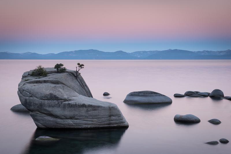 sierra, mountains, bonsai rock, lake tahoe, tahoe, landscape, water, sunrise, , photo