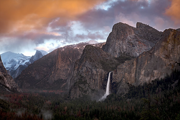 Yosemite, California, Ca, Sierra, valley, Yosemite national park,  el capitan, trees, sunset, Bridalveil falls, water, clouds, winter, photo