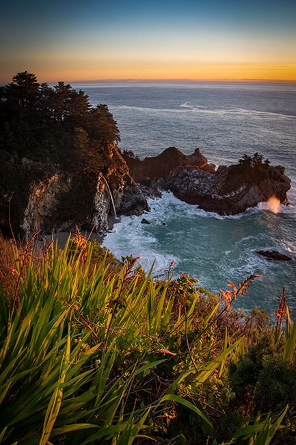 coast, coastal, water, pacific, big sur, sur, big, sunset, twilight, mcway falls, waterfalls, surf, waves, highway 1, hwy 1,  julia, pfeiffer, burns, ca, california flora, crocosmia, photo